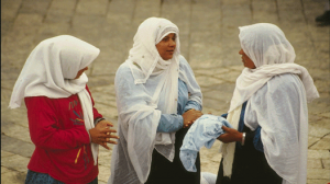Girls at a Damascus gate market