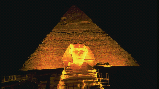 The Sphinx and the Pyramid of Cheops at Gîza, Egypt
