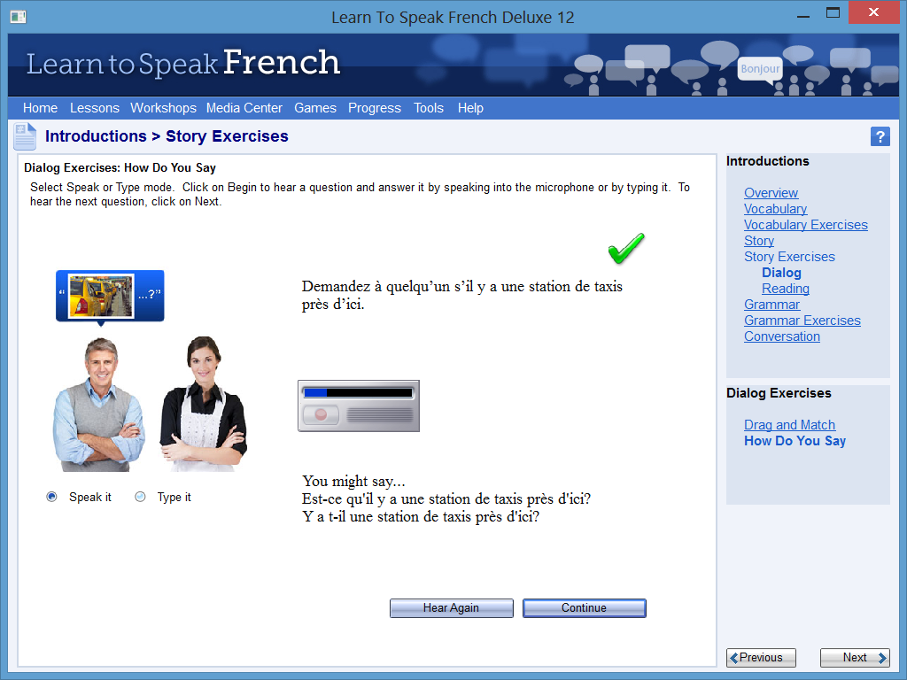 Learn to Speak Software Screenshot - Exercise with Answer