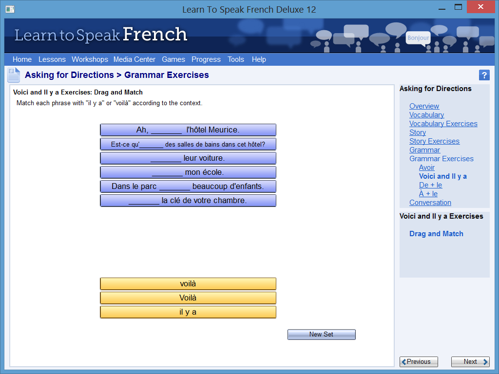 Learn to Speak Software Screenshot - Grammar Exercise