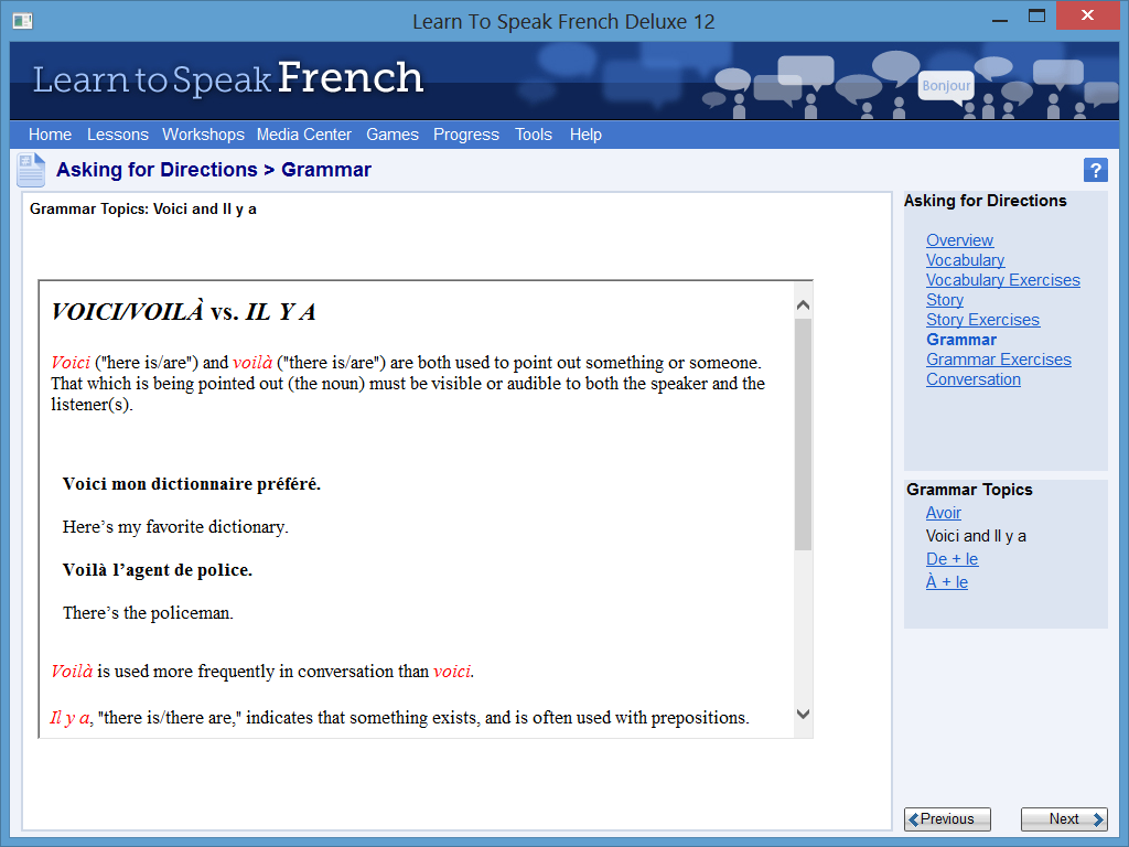 Learn to Speak Software Screenshot - Grammar Training