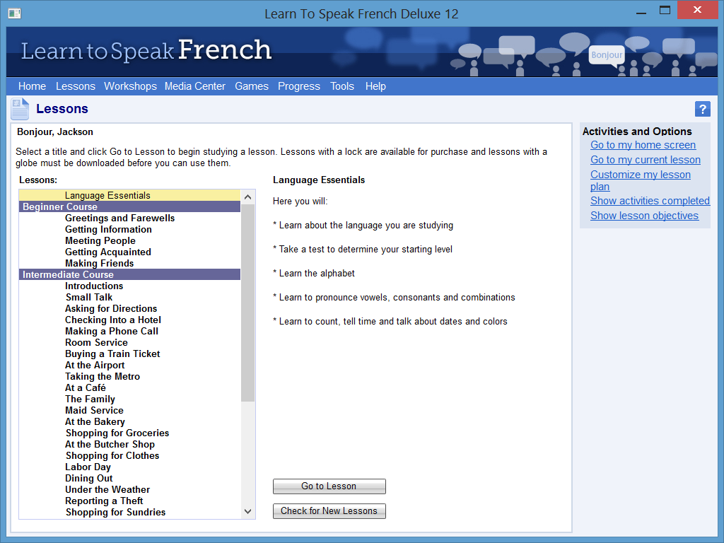 Learn to Speak Software Screenshot - List of Lessons