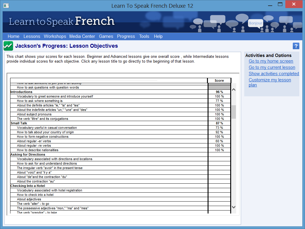 Learn to Speak Software Screenshot - Progress Feedback