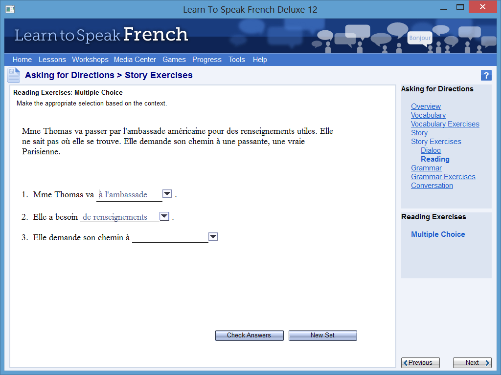 Learn to Speak Software Screenshot - Real-Life Situation Exercise