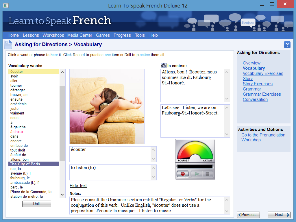 Learn to Speak Software Screenshot - Comprehensive Vocabulary